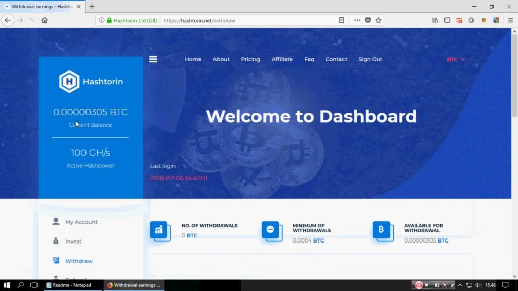 ❌ (SCAM) Hashtorin : New Bitcoin Cloud Mining 2018 (Free 100 Gh/s)