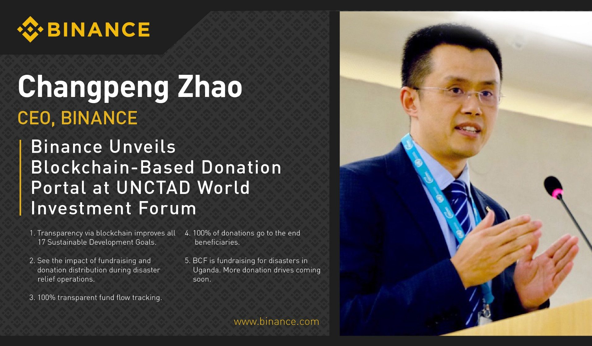Binance Launches Blockchain Donation Portal At UNCTAD In Geneva